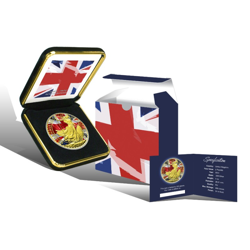 2014 UK Patriotic Britannia Gold Flag