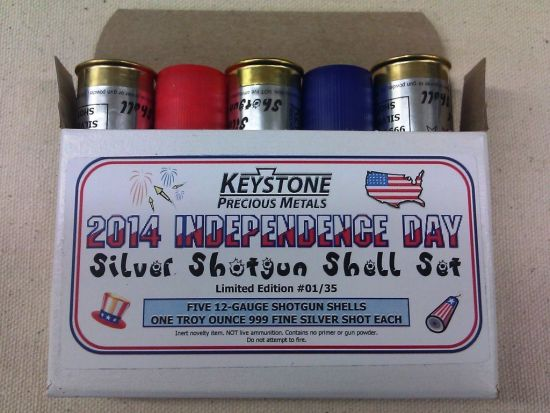 KPM 2014 Independence Day 5 Oz Silver Shotgun Shell Set