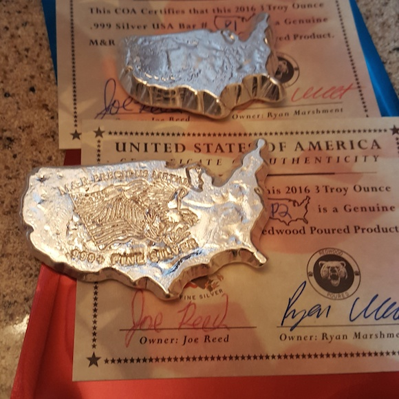 2016 USA bars - Two 3 ounce custom pours